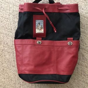 Coach back pack bag red black canvas Olympic rare